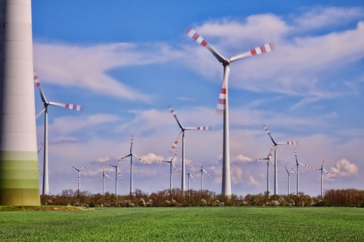 Wind turbines in motion