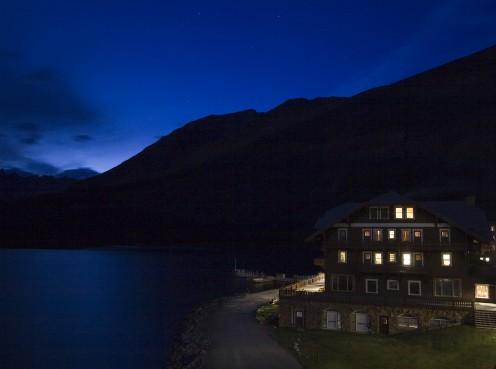 Many Glacier Hotel in Glacier National Park, Montana, USA at nightfall