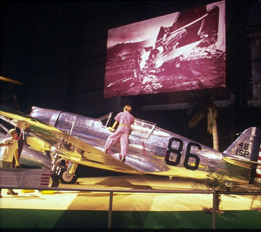 The Curtis P-36A at the USAF Museum a mannequin of Lt. Philip M. Rassmussen.