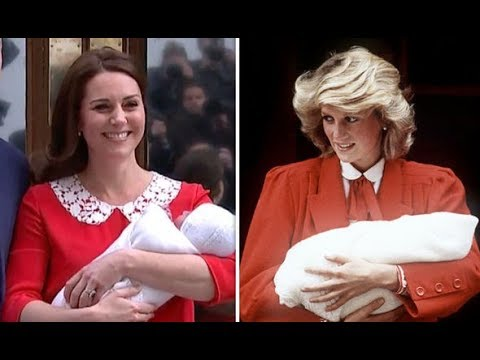 Kate Middleton, Duchess of Cambridge and Princess Diana on steps of St. Mary's Hospital with their babies