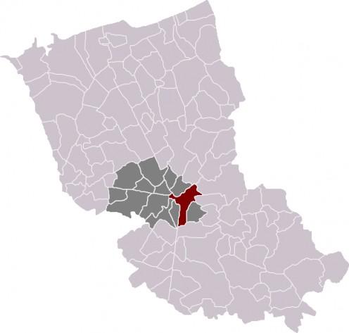 Map location of Cassel, in Dunkirk 'arrondissement'.