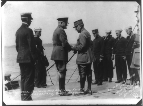 General Pershing and Marshall Foch's final handshake, Brest, France, 1919 Photoprint copyrighted by W.L.Mann