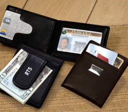 A money clip wallet can be personalized with your initials.