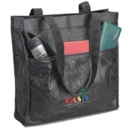 A large leather tote bag can hold almost anything!
