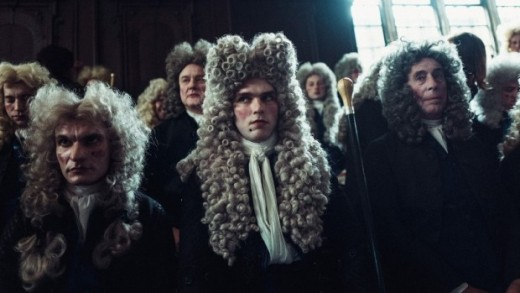 It's refreshing to see male characters strictly in supporting roles such as Nicholas Hoult's scheming Whig, Robert Harley (centre).
