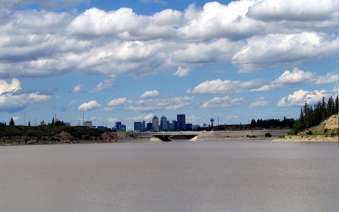 Calgary Downtown seen from Glenmore Reservoir