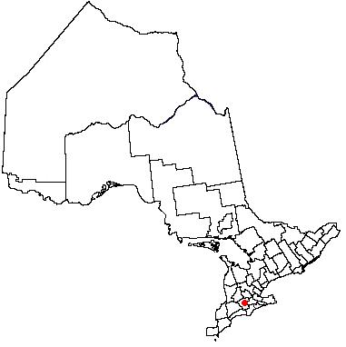 Map location of Woodstock, Ontario