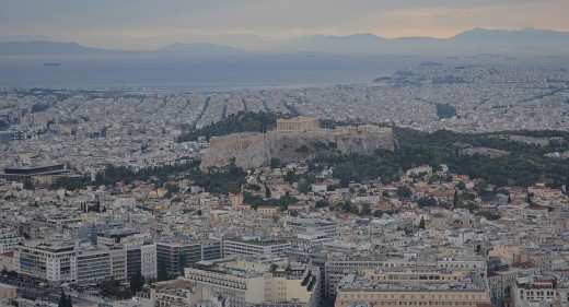 Athens from Lycabettus Hill, the highest point in Athens.