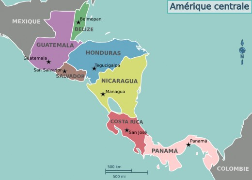 Central America itself, essentially the same during the era save for the independence of Belize from the British.