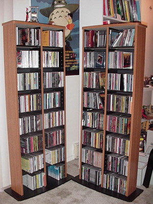 A CD rack can be traditional.