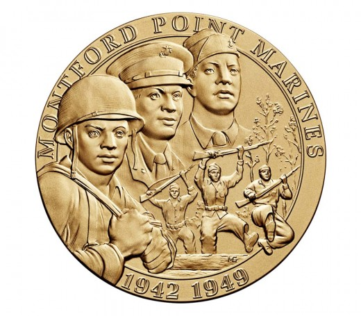 The Congressional Gold Medal awarded the Montford Pointers in 2011, decades after the war.