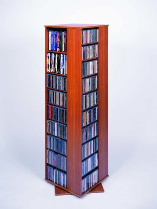 A rotating CD Storage Cabinet can maximize access in a very small footprint.
