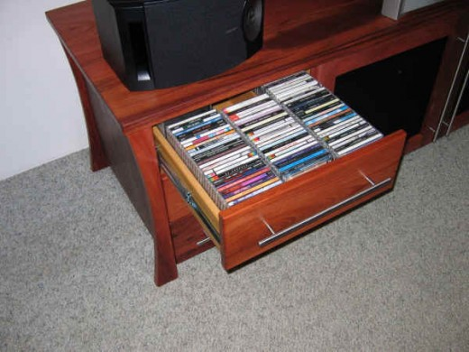 CD/DVD Storage Drawers can hold many discs!