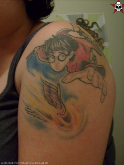 While I like this tattoo of Harry Potter flying on his broom waving to his