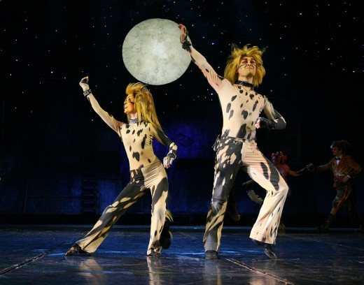 Rumpleteazer (left) and Mungojerrie perform a musical number in a Polish stage version of Cats.