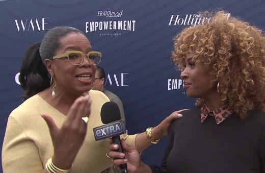 Oprah Winfrey being interviewed
