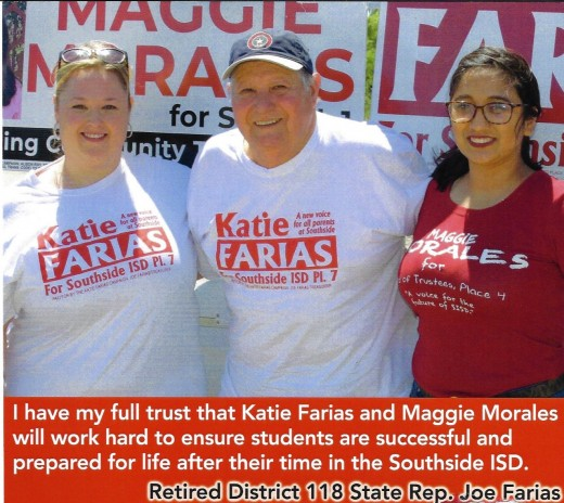 Katie Farias, Joe Farias, Maggie Morales. Political endorsement by retired state Rep.