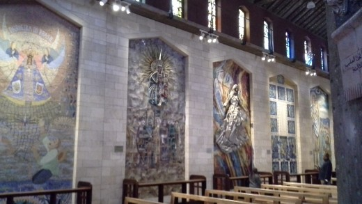 The Basilica of the Annunciation, where the walls are lined with images of Mary