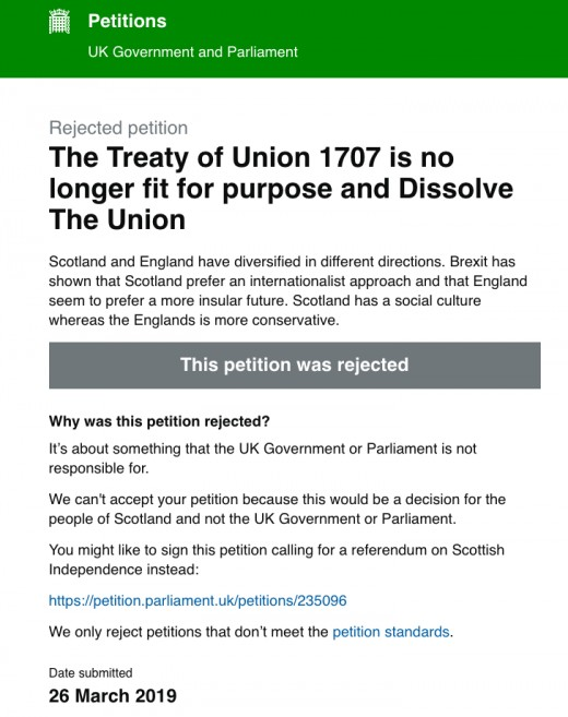 Westminster claims they have no power to dissolve the Union