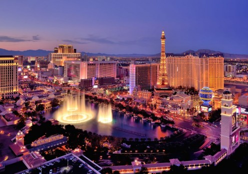 A view of the Las Vegas Strip and famous American landmarks.