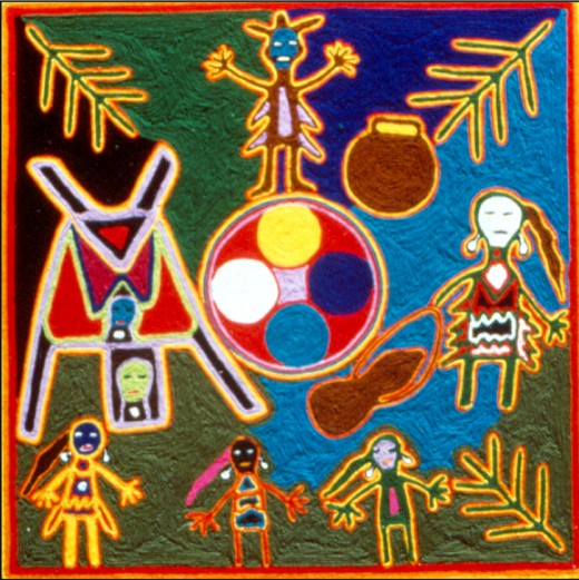 A Huichol yarn painting depicting the legend of the Mother of Corn and her five daughters (White Corn, Yellow Corn, Green Corn, Blue Corn, and Red Corn).