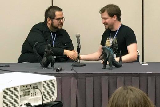 The end of the Matt Frank Yells About Godzilla panel at Comicpalooza 2019.