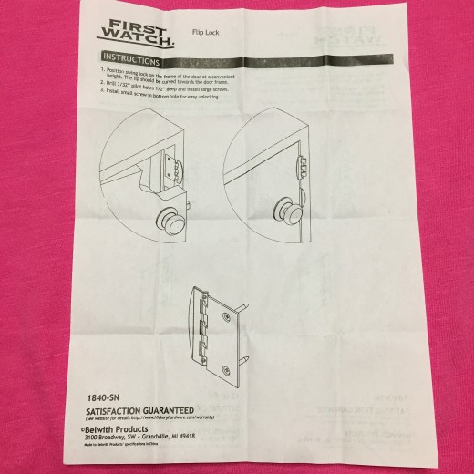 Brochure shows installation near door knob, as shown in our photos. This location seems more secure, but as shown in video below others use it for interior security for children.
