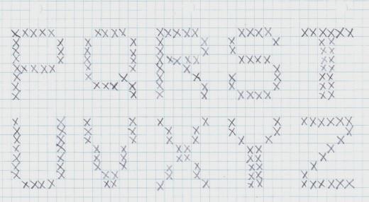 Graphed Alphabet P to Z