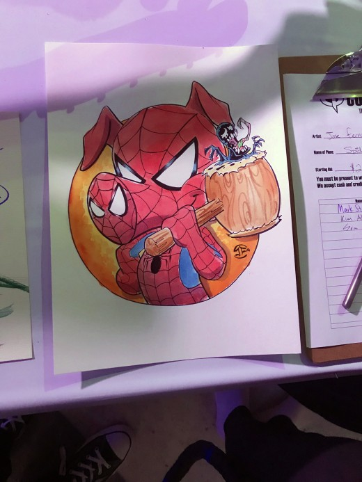 One of my favorites from the art auction at Comicpalooza 2019: Spider-Ham by Jose Fernandez.