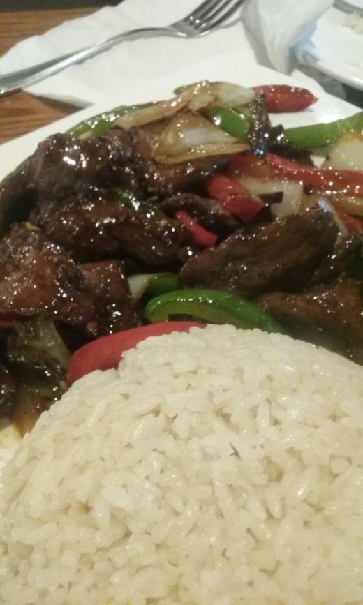 Served at Black Ginger Sushi Restaurant - Mongolian Beef
