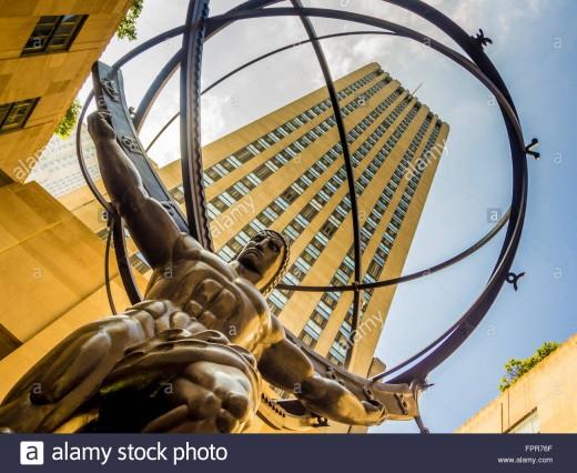 """Atlas"" statue, Rockefeller Center, New York-an example of heroic urban sculpture by Lee Lawrie"