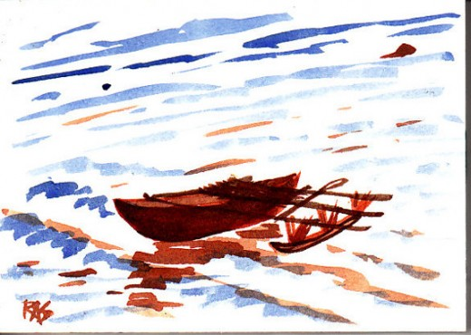 "When you're doing a 30-day article challenge, prompts are like the outrigger on a canoe. They keep it stable even in emotional bad weather. ""Outrigger"" is watercolor, 4"" x 6"" painted from a photo reference by crispur2005 on WetCanvas.com"