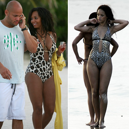 Melanie Brown and Rihanna rocked a similar one piece Cavalli animal-print swimsuit.