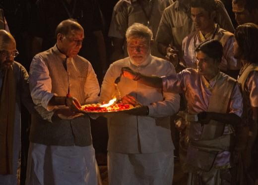 PM Narendra Modi at the Ganga aarti in Varanasi