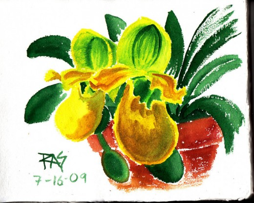 "Green Orchid, watercolor 8 1/2"" x 11"" from a photo reference by Paulafy on WetCanvas.com, painted by Robert A. Sloan."
