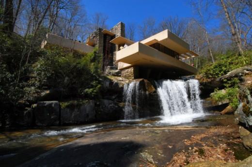 """Fallingwater"", Wright's waterfall house in Bear Run, PA"