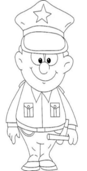 Uniformed Occupations Kids Coloring Pages Colouring Pictures to Print  - the policeman