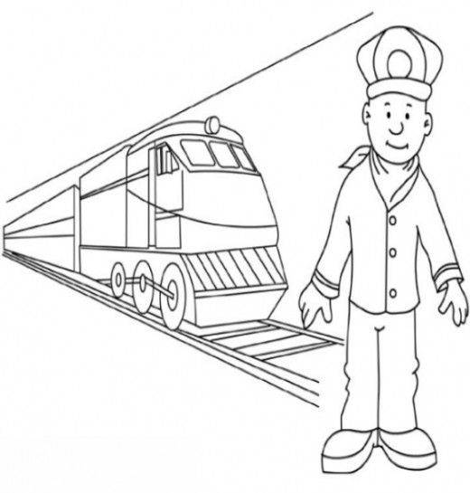 Uniformed Occupations Kids Coloring Pages Colouring Pictures to Print  - the railroad engineer