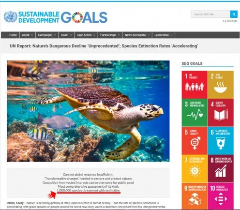 Screen capture of a United Nations website, with 1,000,000-species-extinction claim highlighted with red