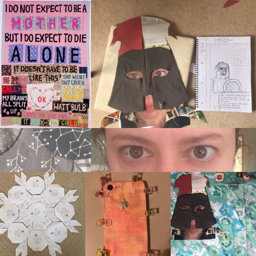 Training montage includes,Tracy Emin Quilt for inspiration, first (& only) sketch, angry eyes ready to printed onto fabric, shield English paper piecing, iphone construction