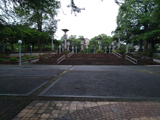 Right outside the library was the fountain where they shot the graduation scene