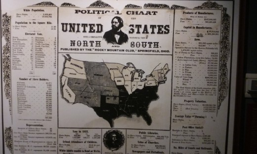 A picture of a poster board giving statistics on slavery at the time of the John Brown Raid. September 2016.