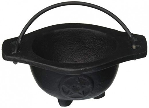 """3"""" Pentagram cauldron, $9.99 on Amazon. Excellent for incense, spell work and altar piece."""