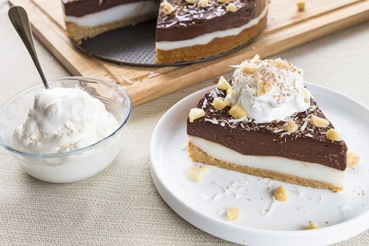 Delicious chocolate haupia pie with macadamia nuts
