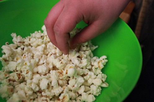 Yummm! There is hardly anyone who can eat ONE piece of popcorn.