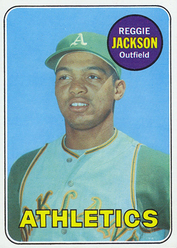 Reggie Jackson's 1969 baseball card when he was 22 years old.