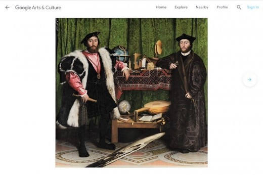 """Screenshot of """"The Ambassadors"""" by Hans Holbein the Younger at the Google Art & Culture website"""