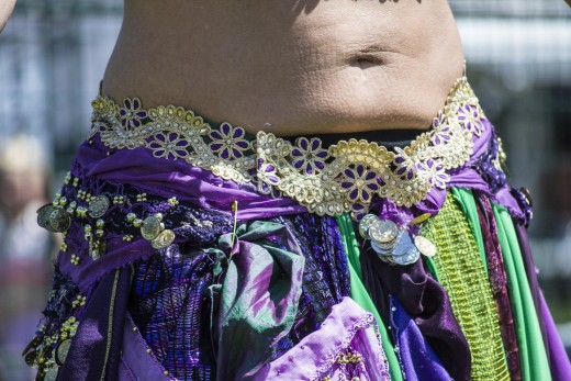 The belly of a performing dancer.