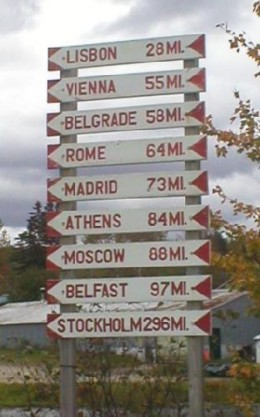 Road sign in Norway, Maine.