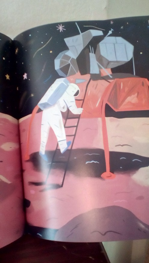 Neil Armstrong steps out onto the moon